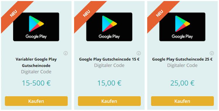 Google Play Gutscheincodes