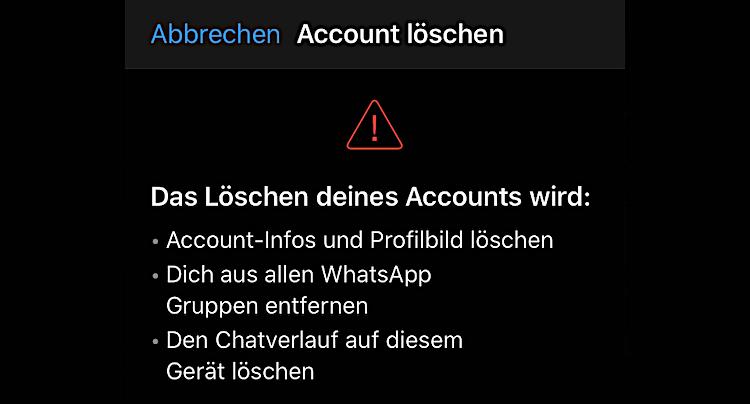 WhatsApp Account Konto löschen